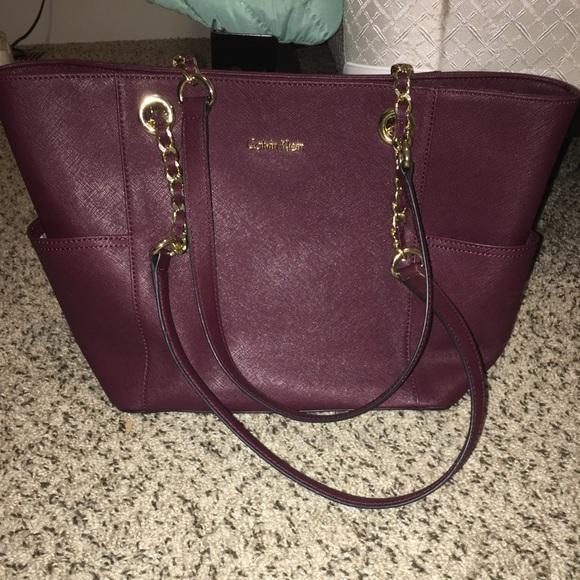 9669886c816 Calvin Klein Bags | Womens Burgundy Leather Tote Bag | Poshmark